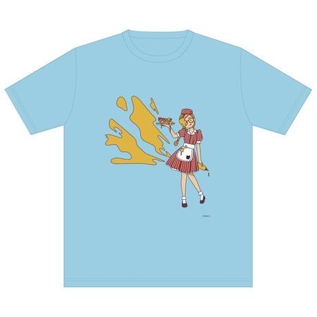 「アメリカンダイナー・マスタード」 サナダシン オリジナル Tシャツ ライトブルー