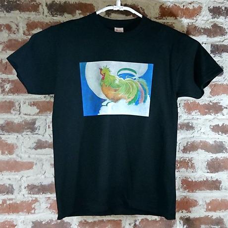 「風の鶏」 おかしなせかい オリジナル Tシャツ ブラック
