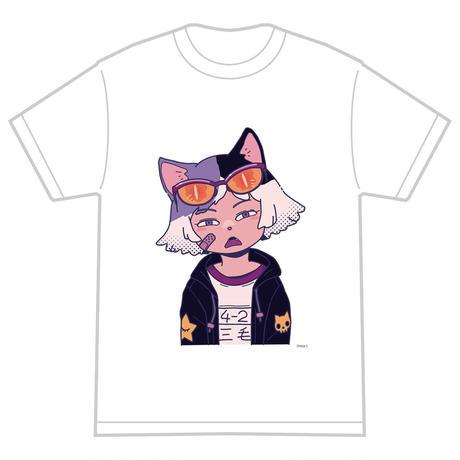 「ミケ」 サナダシン オリジナル Tシャツ ホワイト