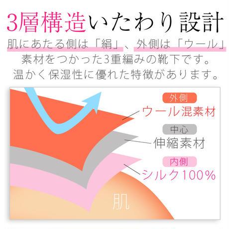 SS07 日本製・冷え取りシルクの3重編みソックス(内側シルク100%)