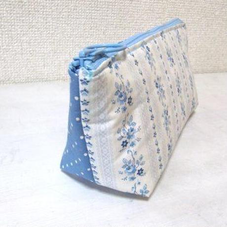 ファスナーポーチ(ペンケース) <ブルー花柄とドット>