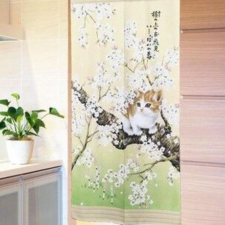 のれん 85×170cm「春ネコボーダー」【日本製】ロングサイズ