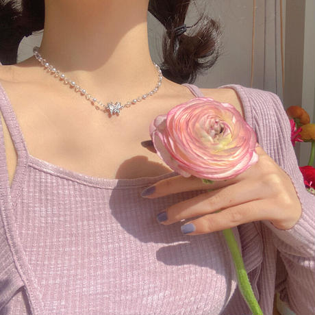 Clear butterfly necklace【R0051】