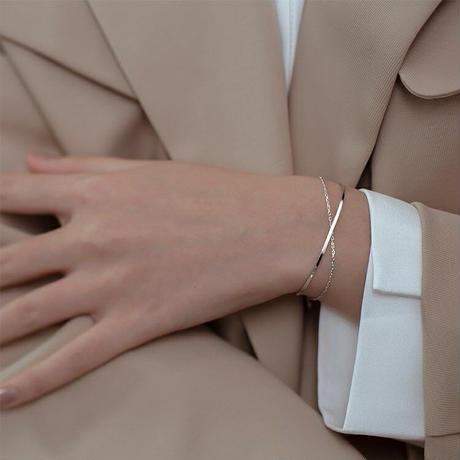 Simple silver bangle 【R0123】