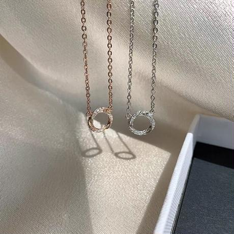 Twist circle necklace【R0078】