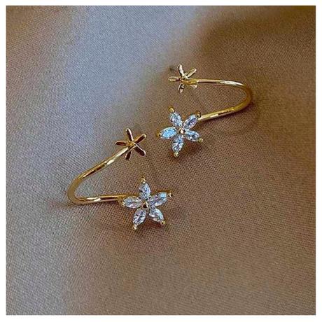 Gold twin flower pierce【R0028】