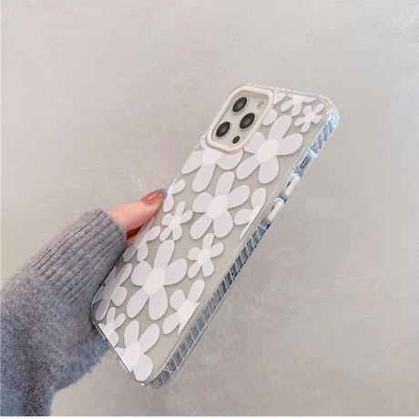 Clear white flower case【C0088】