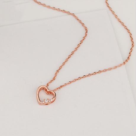 Bright stone heart necklace【R0082】