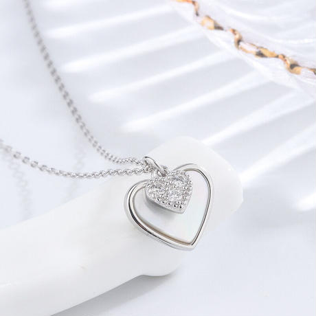 Double shell heart necklace【R0178】