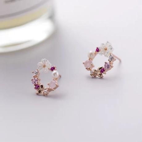 Flower tiara earring&pierce 【R0148】