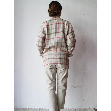 Plaid linen easy jacket
