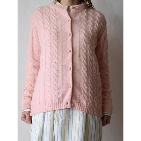 Spring color cable knit cardigan