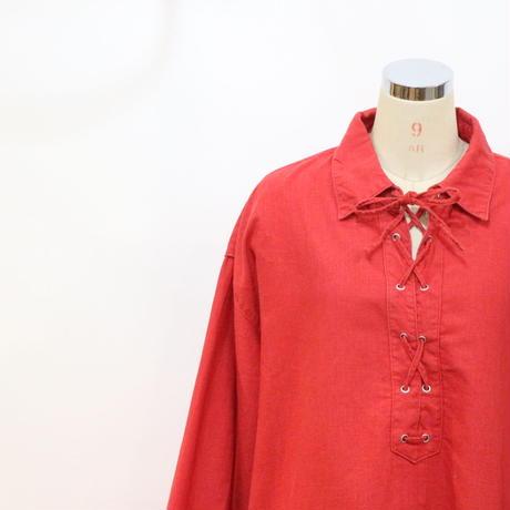 ビッグサイズ リネンレースアップシャツ [388a]
