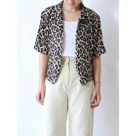 Open collar leopard rayon shirt