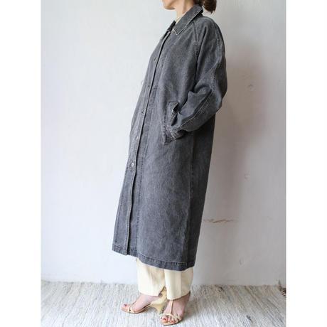 90's Black denim long coat