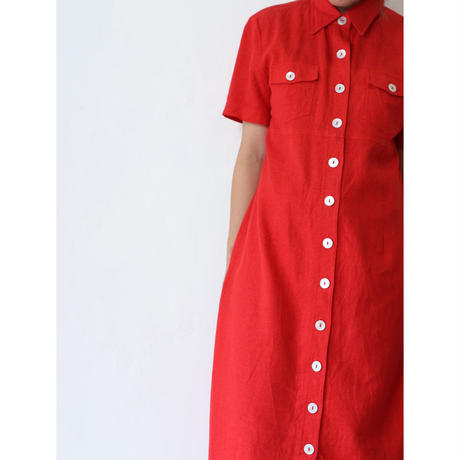 "Linen Long Onepiece ""Red"" [No.30071]"