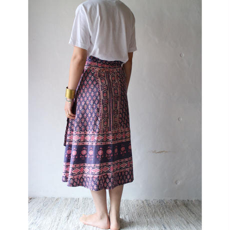 70's Indian cotton wrap skirt [060C]