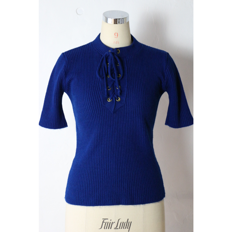 70's~ Lace up S/S Knit [317C1]