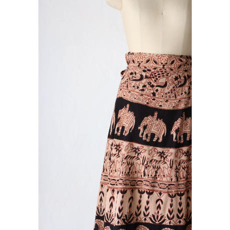 70's Indian cotton maxi wrap skirt [058C]