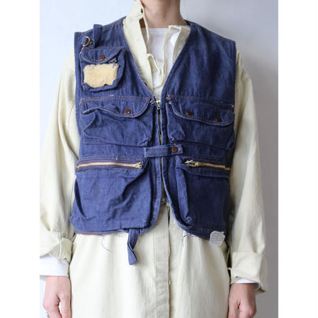 Denim fishing vest