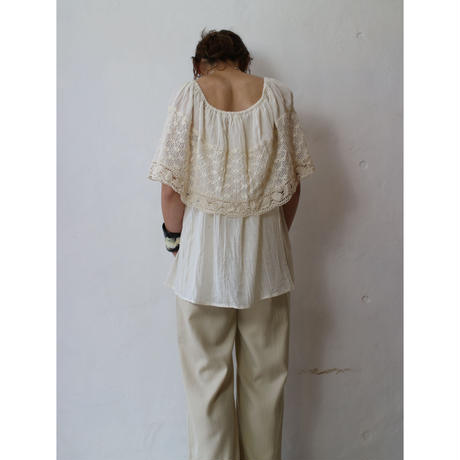 "Lace×Gauze Blouse ""Natural"" [No.60072]"