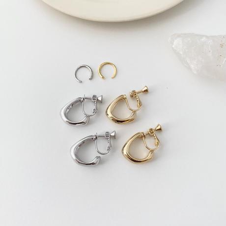 (earring)P-7 2set foop earring & ear cuff -silver-