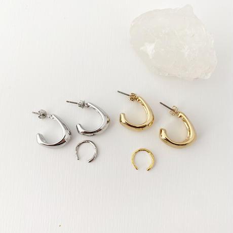 (pierce)P-5 2set foop pierce & ear cuff -silver-