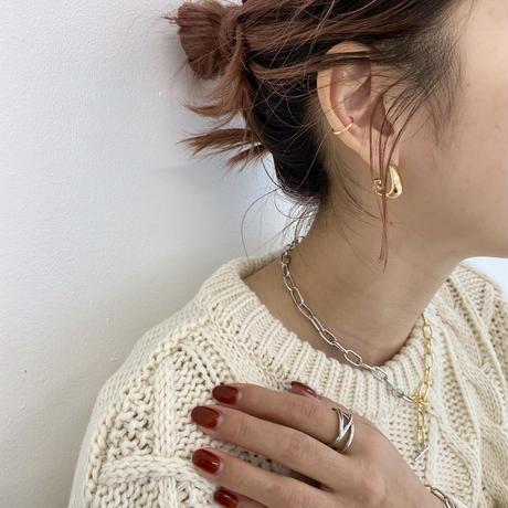 (earring)P-8 2set foop earring & ear cuff -gold-