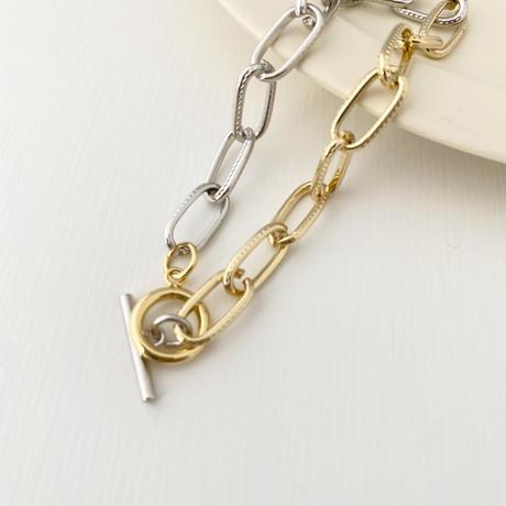 (bracelet)B-3  silver & gold chain bracelet