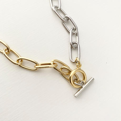 (necklace)N-6 silver & gold necklace