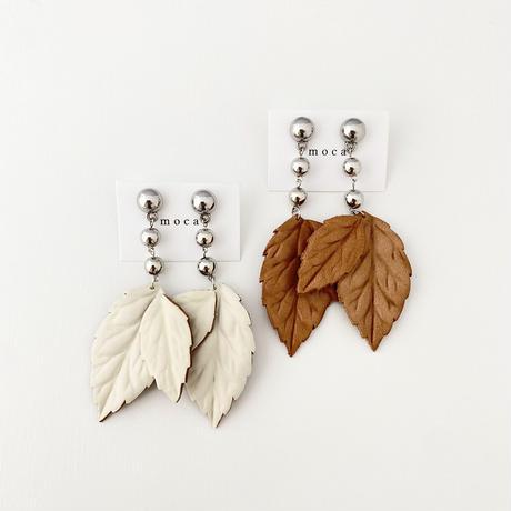 (pierce/earring)P-2 leather leaf pierce