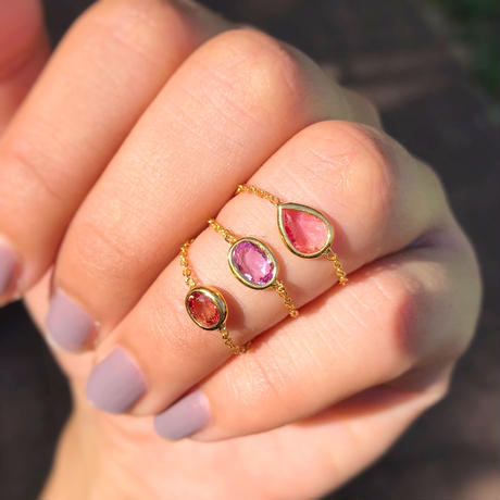 Lavender Pink Sapphire Chain Ring