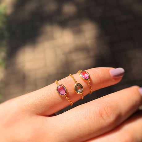 Coral Pink Sapphire Chain Ring