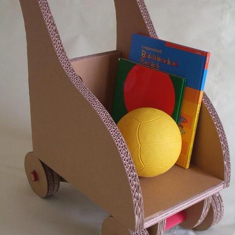 ダンボール製【手押し車エコモデル】本格工作キット(15歳以上) お子様(2歳以上)の室内おもちゃ 収納としても利用可♪