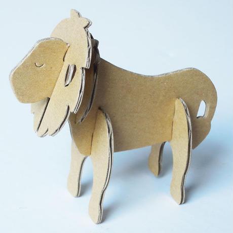 「夢ダンボ」組み立て動物[ダンボールキット] ライオン