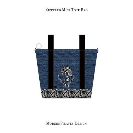 ファスナー付きカートバッグ / ペイズリースカル デザイン ( デニム/ ブラック ) weiche brise×modernpirates