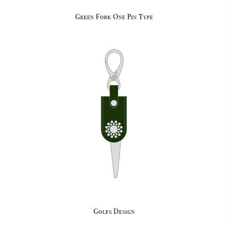 グリーンフォーク 1ピン タイプ / スワロフスキーサークル デザイン ( グリーン )
