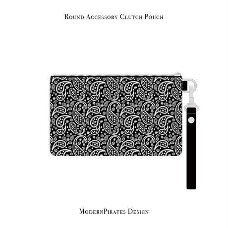 ラウンド アクセサリー クラッチ ポーチ / ペイズリースカル デザイン ( デニム/ ブラック ) weiche brise×modernpirates