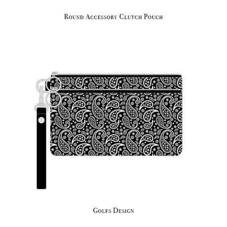 ラウンド アクセサリー クラッチ ポーチ / ペイズリー デザイン ( ブラック )