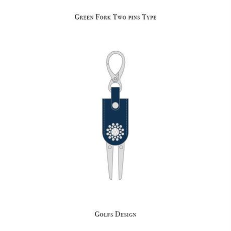 グリーンフォーク 2ピン タイプ / スワロフスキーサークル デザイン ( ブルー )