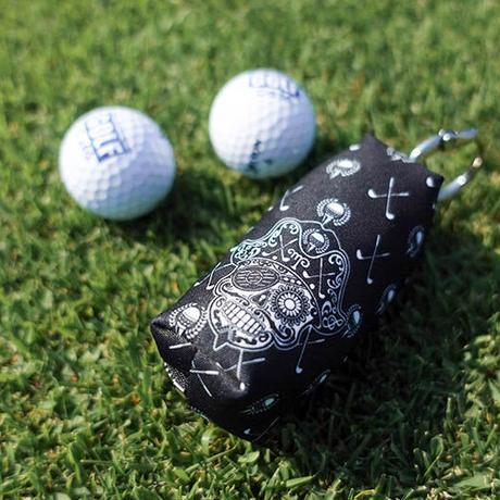 ファスナー式 ゴルフボール ポーチ / シュガー スカル ゴルフ デザイン ( ブラック )