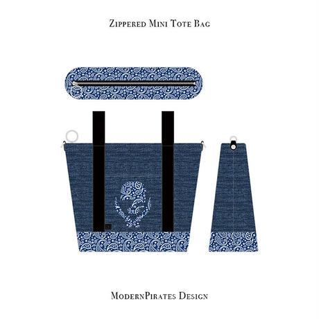 ファスナー付きカートバッグ / ペイズリースカル デザイン ( デニム/ ブルー )
