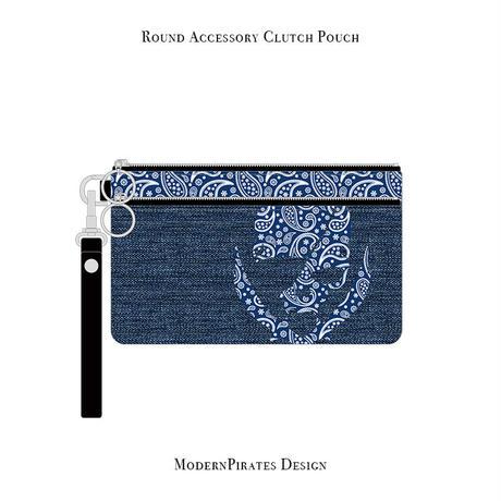 ラウンド アクセサリー クラッチ ポーチ / ペイズリースカル デザイン ( デニム/ ブルー ) weiche brise×modernpirates