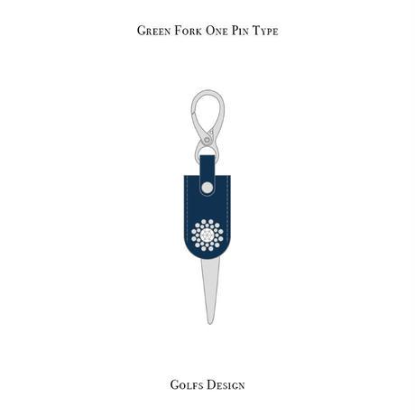 グリーンフォーク 1ピン タイプ / スワロフスキーサークル デザイン ( ブルー )