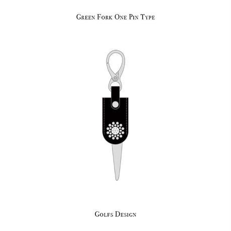 グリーンフォーク 1ピン タイプ / スワロフスキーサークル デザイン ( ブラック )