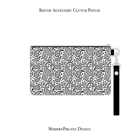 ラウンド アクセサリー クラッチ ポーチ / ペイズリースカル デザイン ( デニム/ ホワイト ) weiche brise×modernpirates