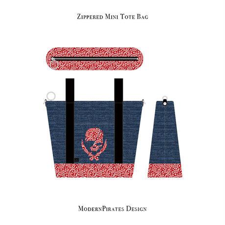 ファスナー付きカートバッグ / ペイズリースカル デザイン ( デニム/  レッド )