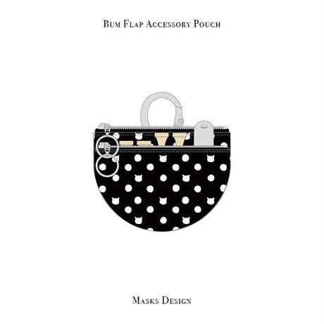 ラウンド ポケット / キャット ポルカ ドット デザイン ( ブラック・ホワイト )
