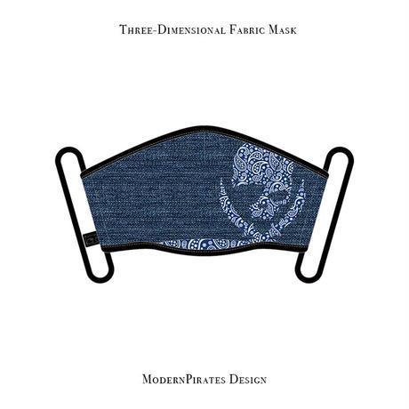 スリーディメンション マスク  / ペイズリースカル デザイン ( デニム/ ブルー )
