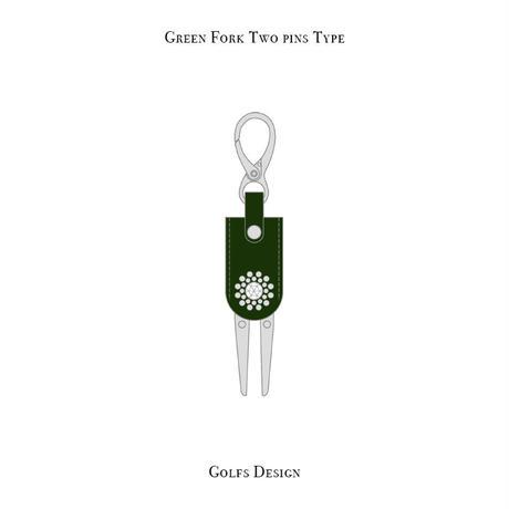 グリーンフォーク 2ピン タイプ / スワロフスキーサークル デザイン  ( グリーン )